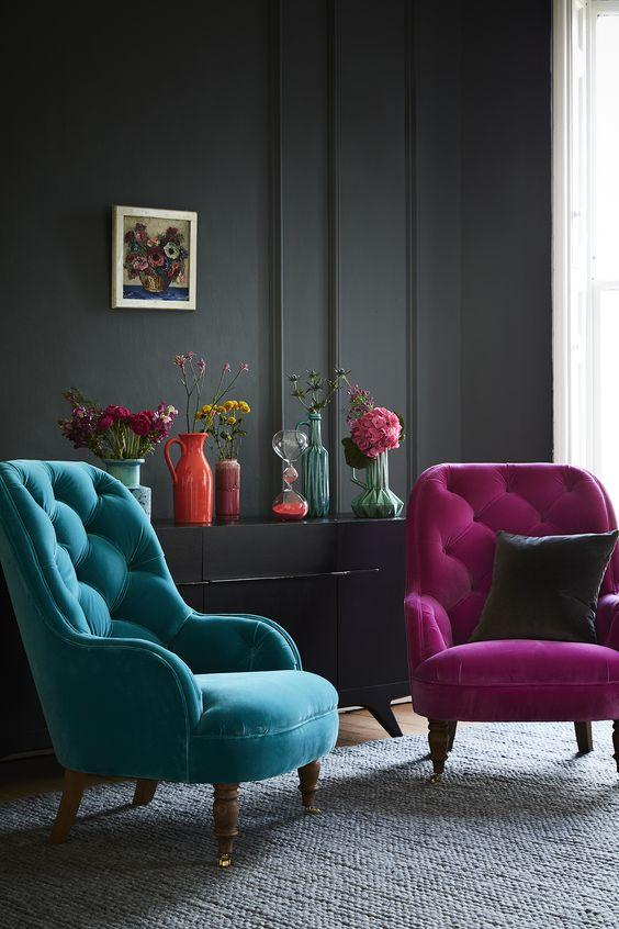 Our Penelope armchair, with its high, tufted back makes it one comfy place to take the weight off your feet and its smart, turned legs are a lovely traditional feature. Penelope would work brilliantly as an accent chair to offset larger items around the living room or, alternatively, would sit very pretty in the corner of the bedroom. The Penelope armchair is shown in magenta and teal velvet fabrics, but can be made bespoke in any fabric that youd like.: