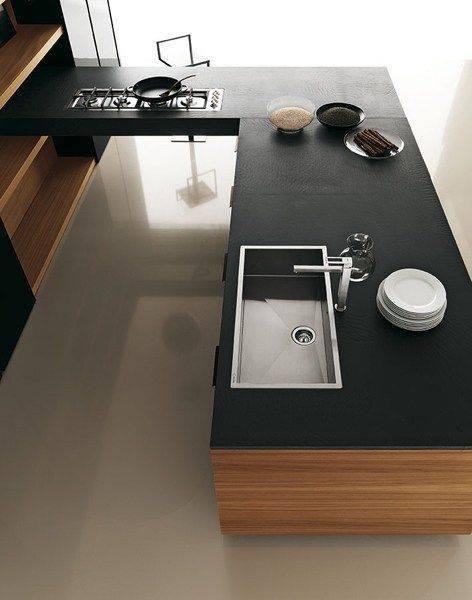 проста черна кухня декорация