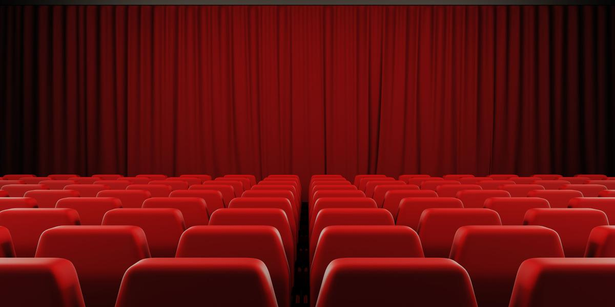 45912405 - closed curtain cinema screen. 3d render image.