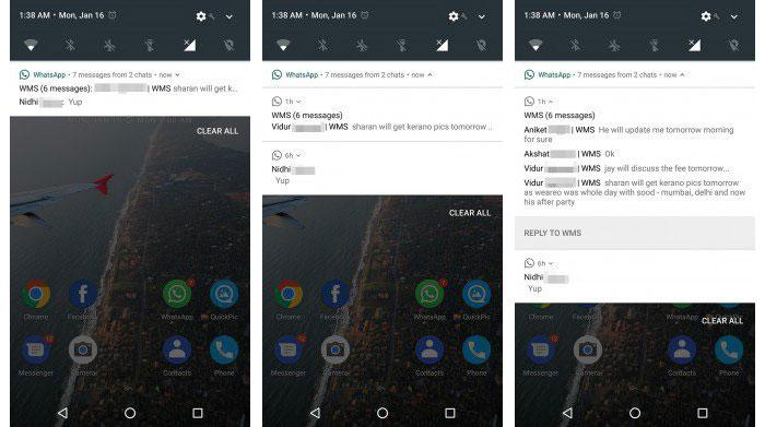 notificaciones de Android 7.0 Nougat