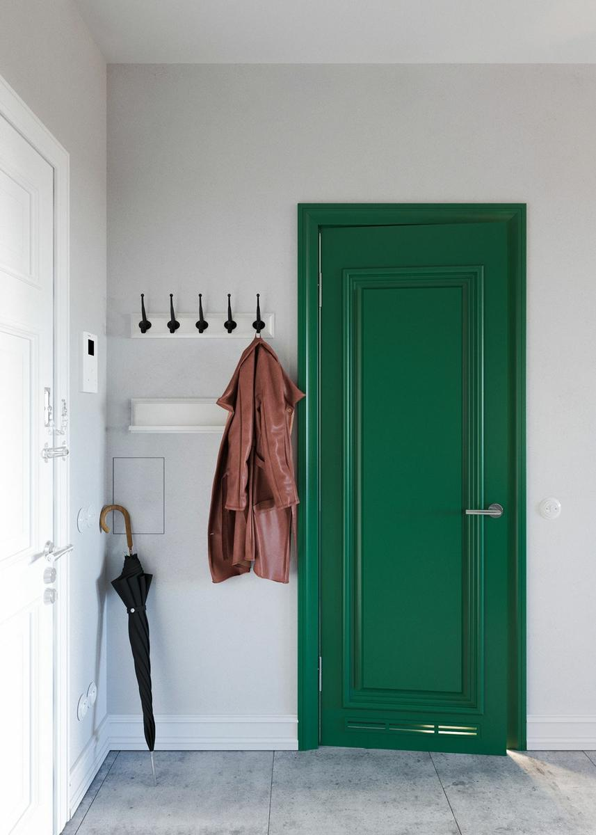 Claves_para_crear_contrastes_de_color_en_la_decoración_espacio_recibidor_unique-jade-green-doors-interior-design-min