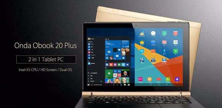 4 tablet PCs con Windows 10 y Android ONDA oBook 20 Plus