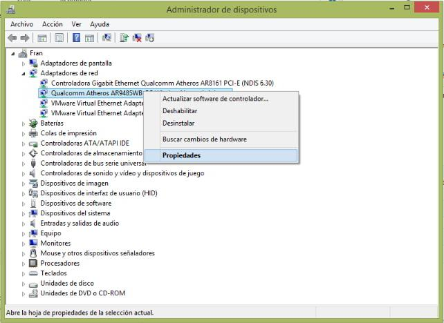 cambiar mac windows - administrador dispositivos