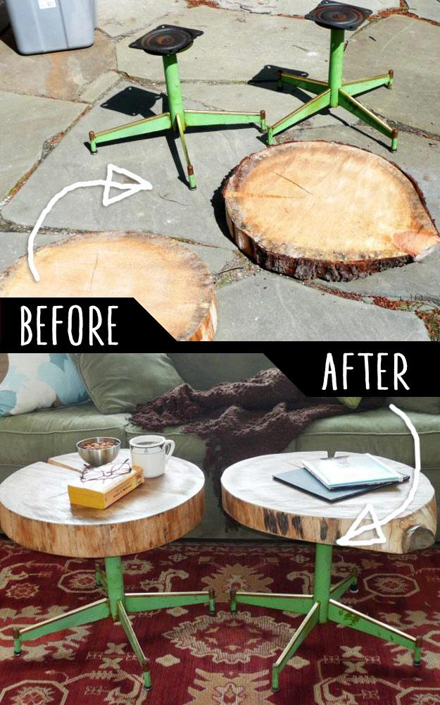 DIY Furniture Hacks | Accent Tables Using Rough Cut Logs and Old Metal Chair Legs | Cool Ideas for Creative Do It Yourself Furniture | Cheap Home Decor Ideas for Bedroom, Bathroom, Living Room, Kitchen - http://diyjoy.com/diy-furniture-hacks