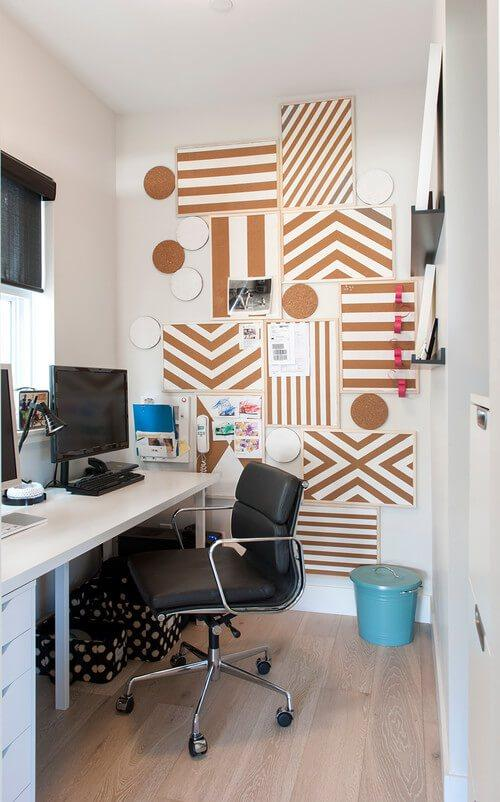 decorar la pared con tableros de corcho