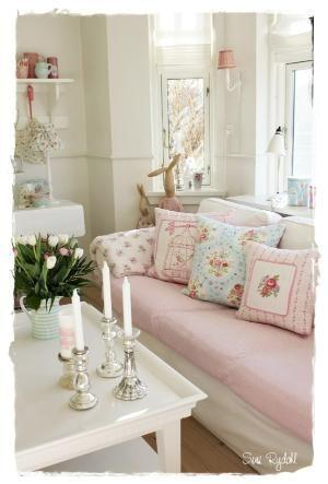 Sala Shabby chic. Imagen referencial Pinterest