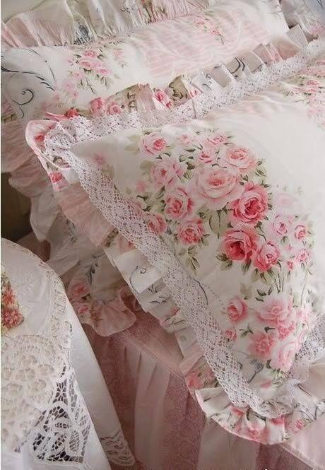 Ropa de cama Shabby chic. Imagen referencial Pinterest