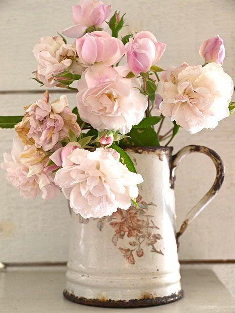 Flores Shabby chic. Imagen referencial Pinterest