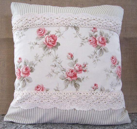 Cojines Shabby chic. Imagen referencial Pinterest