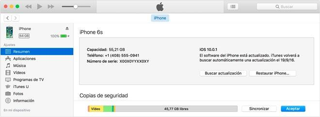 restablecer un iphone o ipad desde itunes, captura de pantalla