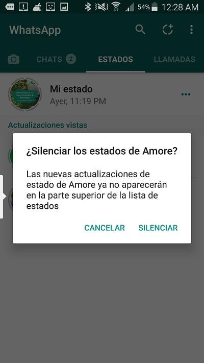silenciar estados whatsapp