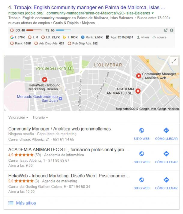 Local SEO Cuadro de My Bussines en Google