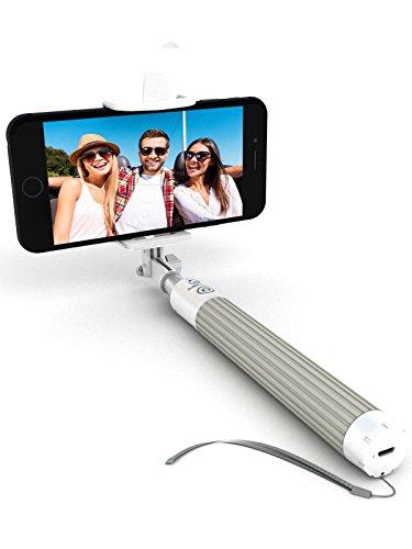 Premium 5-In-1 Bluetooth Selfie Stick For iPhone X, 8, 7, 6, 5, Samsung Galaxy S8, S7, S6, S5 - Improved, Strengthened & Upgraded - Powered By Certified Bluetooth Technology