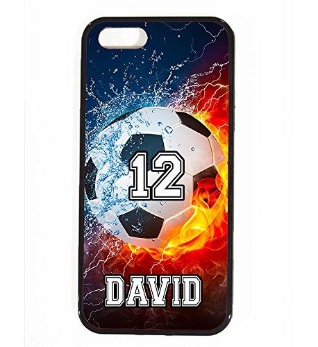iPhone SE Case, ArtsyCase Thunder Water Fire Soccer Ball Personalized Name Number Phone Case - iPhone SE (Black)