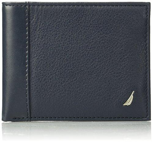 Nautica Mens Milled Leather Passcase Wallet, Navy