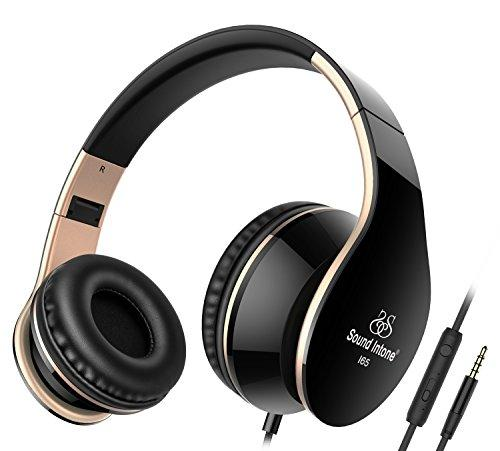 Headphones, Sound Intone I65 Foldable Headphone with Microphone and Volume Control, Wired Headset for iphone, Android Smartphones and Tablets (Black/gold)