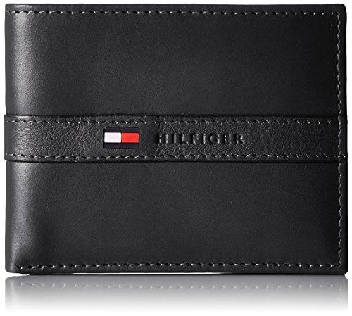 Tommy Hilfiger Mens Ranger Leather Passcase Wallet with Removable Card Holder,Black,One Size