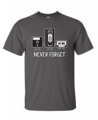 Never Forget Funny Retro Father Day Gifts Music Mens Novelty Funny T Shirt XL Charcoal