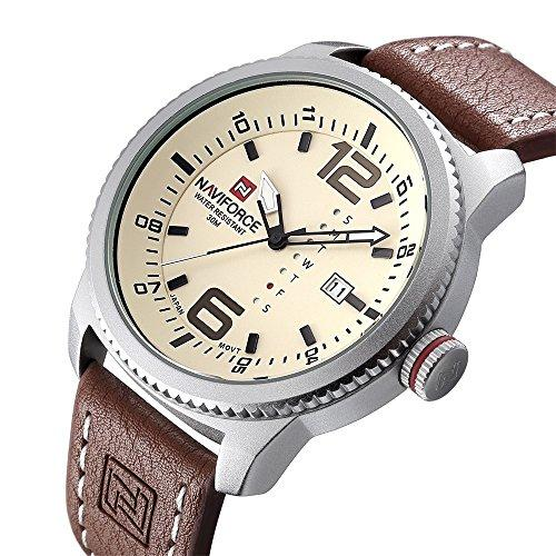 Mens Quartz Military Sports Watches Men Date Clock Man Casual Leather Big dial Wrist Watch N9063S