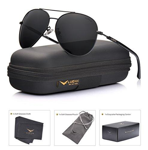 Aviator Sunglasses Mens Women Polarized Black Lens Black Metal Frame Dark 60mm with Case - UV400