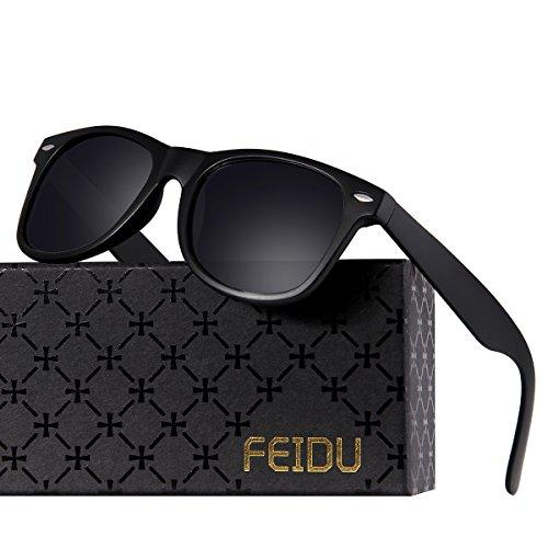 FEIDU Classic Mens Polarized Wayfarer Retro Sunglasses Unisex for Women FD 2149 (Matte Black, 2.08)