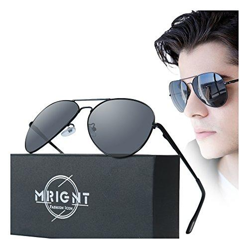 Men Military Classic Aviator polarized Sunglasses UV400 with A Sunglasses Case
