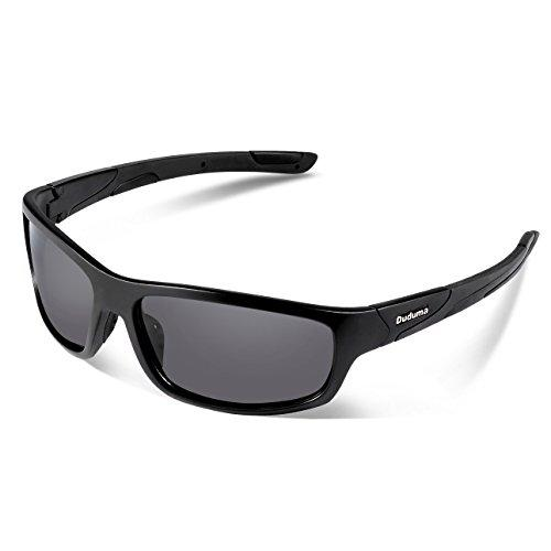 Duduma Polarized Sports Sunglasses for Men Women Baseball Running Cycling Fishing Driving Golf Softball Hiking Sunglasses Unbreakable Frame Du645(Black matte frame with black lens)