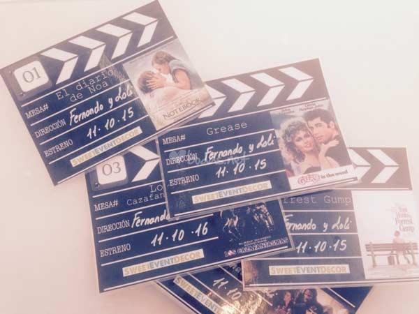 wedding seating plan para mesas de banquete con tematica de cine