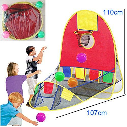 Kids/Children Waterproof Foldable Pop Up Indoor and Outdoor Large Space Basketball Hoop With 4 Balls Play tent/Play House/Toys As a Best Gift for 1-6 years old Kids/boy/girls/baby/Infant (Desin-1)