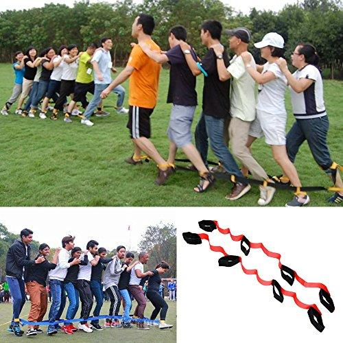 Crayfomo 4 Legged Race Bands Outdoor Game for Kids Adults Birthday Team Party Games (RED)