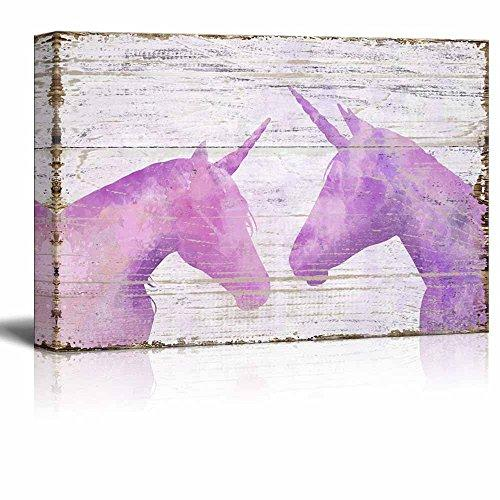 "wall26 Vintage Style Canvas Wall Art - Pink Unicorn on Wooden Background - Giclee Print Stretched Gallery Wrap | Modern Home Decor Ready to Hang - 12"" x 18"""