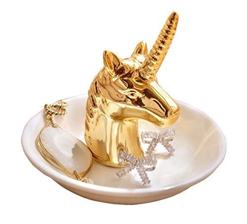 Eastyle Gold Unicorn Ring Dish Holder Jewelry Tray For Earrings Necklace Bracelets Organizer