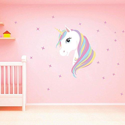 CHICTRY Unicorn Wall Decals Cute Bling Stars Wall Art Stickers Removal Vinyl Wall Sticker Decal DIY Kids Girls Bedroom Home Nursery Room Wall Mural Decor