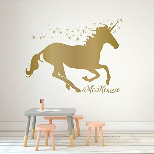 Unicorn Wall Decor Vinyl Decal Personalized with Custom Name For Girls Bedroom, Playroom, Baby Nursery - Choose from Gold, Pink, Purple, Red