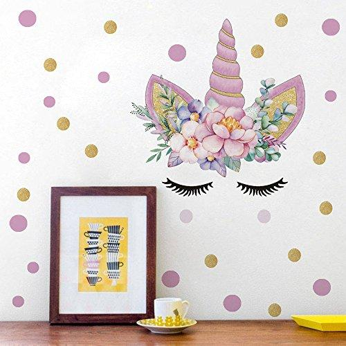 DCTOP Unicorn Angel Flower Wall Decal Polka Dot Eyebrow Wall Sticker Colorful Fairytale Wall Art Unicorn Cute Wall Decal Nursery Bedroom Decal Vinyl Wall Decal Home Decor, Gold@Pink