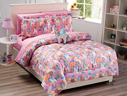 Mk Collection 8 PC Unicorn Pink Purple White Blue Orange Comforter And sheet set With Furry Buddy Included New (Full, Comforter Set)