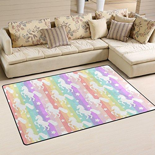 Yochoice Non-slip Area Rugs Home Decor, Colorful Rainbow Unicorns Floor Mat Living Room Bedroom Carpets Doormats 60 x 39 inches