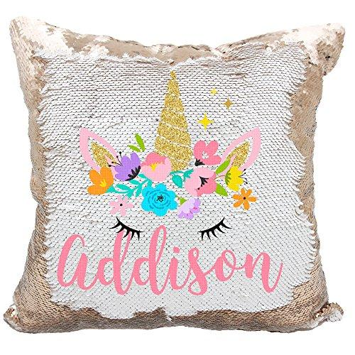 Personalized Mermaid Reversible Sequin Pillow, Custom Unicorn Sequin Pillow For Girls (White/Rose Gold)
