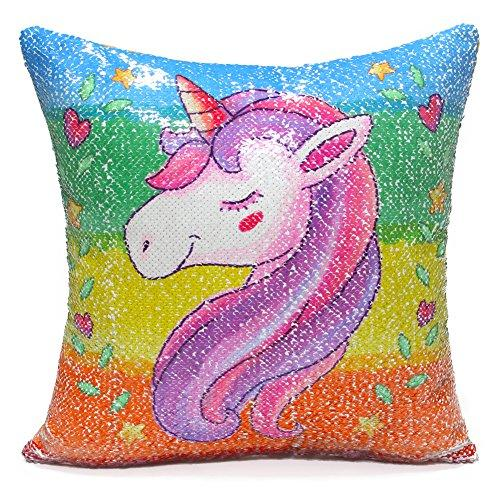 "ICOSY Unicorn Mermaid Pillow Case Magic Reversible Sequin Pillow Cover Unicorn Pillows Reversible Sequins Decorative Cushion Covers 16""x16""(Rainbow Unicorn/Silver)"