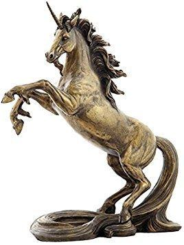 11.25 Inch Unicorn on 2 Feet with Long Tail Cold Cast Bronze Figurine