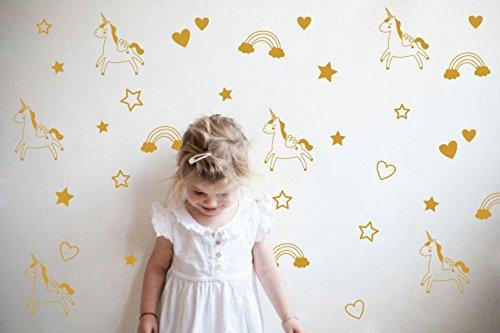 Unicorn Rainbow Star Heart Wall Decal,Removable Vinyl Wall Stickers for Baby Kids Boys Girls Bedroom Nursery Decor(A13) (Dumb Gold)