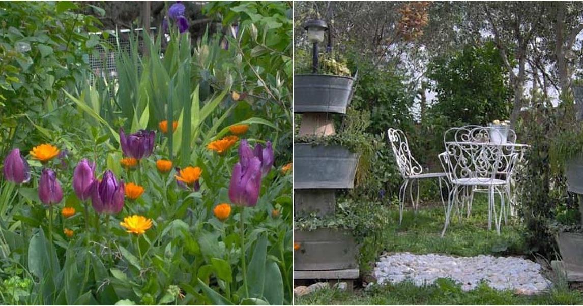 Un jard n con elementos reciclados plantas for Elementos de jardineria