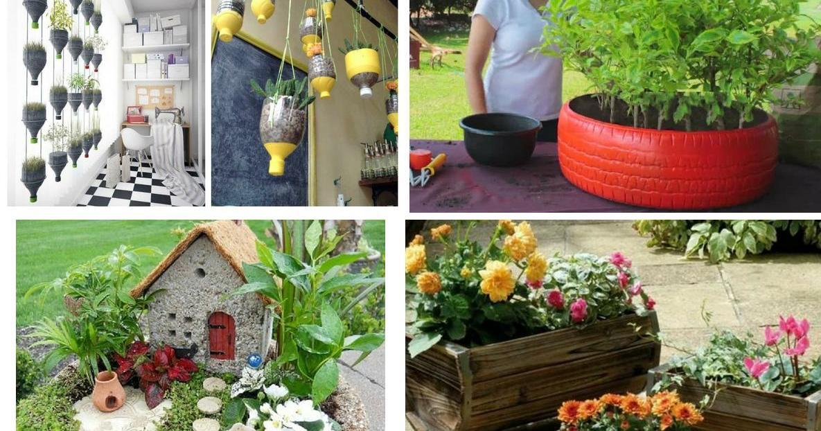 20 manualidades para el balc n terraza o jard n peque o plantas for Decoracion antejardin pequeno
