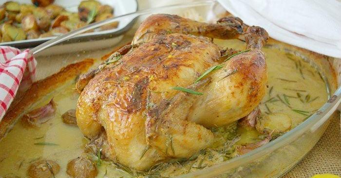 Pollo al horno en leche al estilo de Jamie Oliver