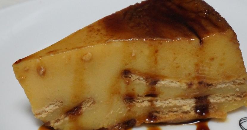 Flan de galletas María, sin horno