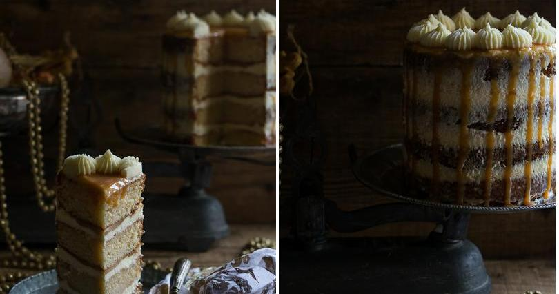Tarta de manzana con crema de queso y caramelo salado