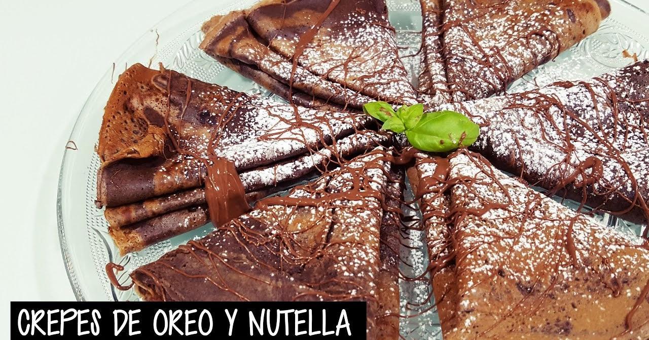 Cómo hacer crepes con masa de Oreo y Nutella