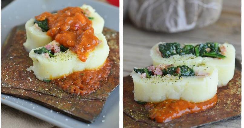 Rollo de patata relleno de espinacas