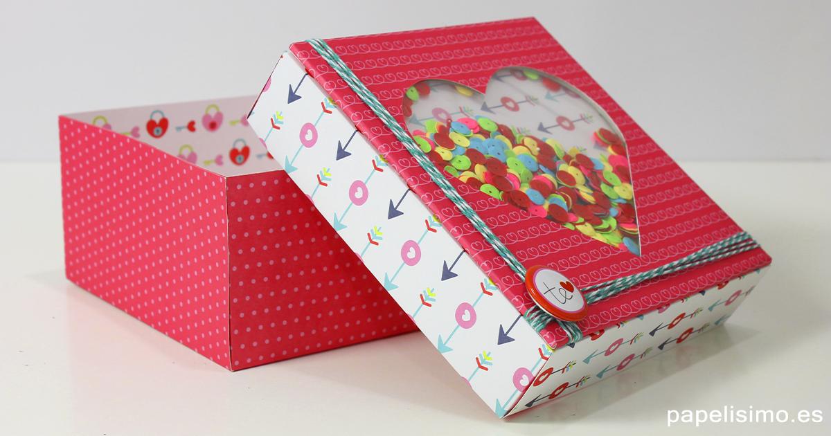 Caja de regalo coraz n con plantillas manualidades - Cajas para manualidades ...