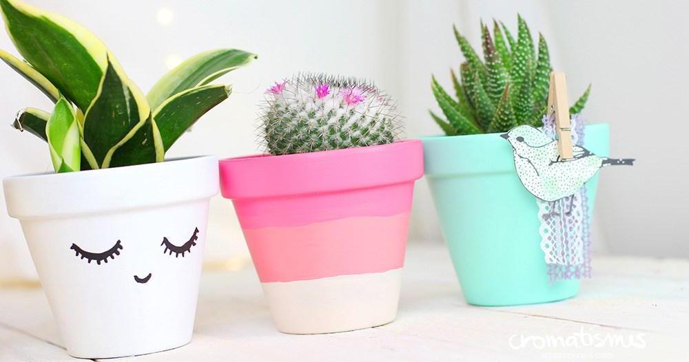 Chill decoraci n 14 ideas para decorar y renovar macetas for Ideas para decorar macetas